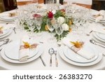 fancy table set for a wedding... | Shutterstock . vector #26383270
