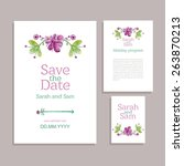 vector set of invitation cards... | Shutterstock .eps vector #263870213