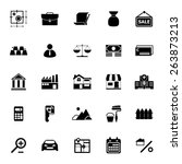 mortgage and home loan icons on ... | Shutterstock .eps vector #263873213