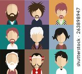 set of people icons in flat... | Shutterstock .eps vector #263898947
