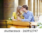 young couple in the outdoor... | Shutterstock . vector #263912747