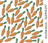 seamless background with carrots | Shutterstock .eps vector #263945297