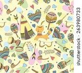vector indian doodle... | Shutterstock .eps vector #263980733