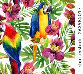 watercolor parrots on a floral... | Shutterstock . vector #263985017