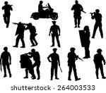 The Set Of  Policeman Silhouette