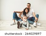 young hipster father  mother... | Shutterstock . vector #264029897
