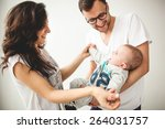 young hipster father  mother... | Shutterstock . vector #264031757