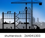 Silhouette Building Site Over...