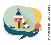 christmas gift flat icon with... | Shutterstock .eps vector #264061553
