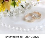 closeup of wedding rings and... | Shutterstock . vector #26406821