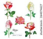 roses watercolor flowers set.... | Shutterstock .eps vector #264074627