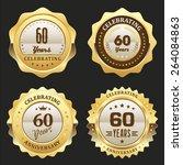 four gold celebrating 60 years...   Shutterstock .eps vector #264084863