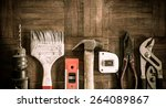 old   grunge set of hand tools... | Shutterstock . vector #264089867