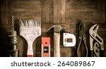 old   grunge set of hand tools...   Shutterstock . vector #264089867