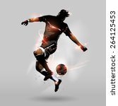 abstract soccer player jumping...
