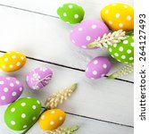 easter background with colorful ...   Shutterstock . vector #264127493