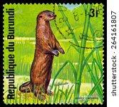 Small photo of BURUNDI - CIRCA 1975: A stamp printed by Burundi shows African small-clawed otter, Animals Burundi, circa 1975.