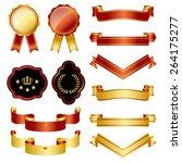 gold and red emblem set  | Shutterstock .eps vector #264175277