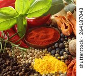herbs and spices selection.... | Shutterstock . vector #264187043