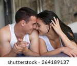 happy young couple relax and... | Shutterstock . vector #264189137