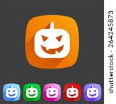 halloween pumpkin symbol flat... | Shutterstock . vector #264245873