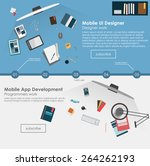 set of flat design illustration ... | Shutterstock .eps vector #264262193