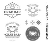 set of vector seafood labels ... | Shutterstock .eps vector #264304907