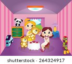 little girls playing with teddy ... | Shutterstock .eps vector #264324917