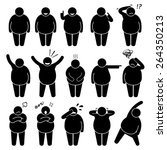 fat man action poses postures... | Shutterstock .eps vector #264350213