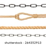 collection of chain and ropes... | Shutterstock . vector #264352913