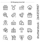 shopping icons set  line icon ... | Shutterstock .eps vector #264353987