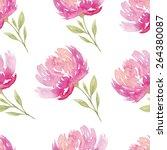 watercolor flowers. seamless... | Shutterstock .eps vector #264380087