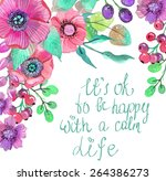 colorful floral card with... | Shutterstock .eps vector #264386273