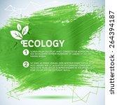 hand painted green brush... | Shutterstock .eps vector #264394187