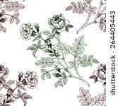 rose flowers seamless pattern... | Shutterstock .eps vector #264405443