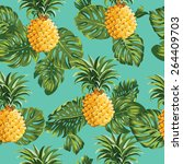 pineapples and tropical leaves... | Shutterstock .eps vector #264409703