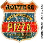 grungy  nostalgic route sixty... | Shutterstock .eps vector #264412523