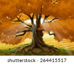 Autumn Oak Tree Illustration