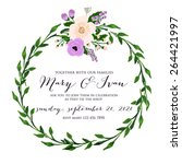 invitation or wedding card with ... | Shutterstock .eps vector #264421997