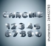 3d numbers stylized chrome... | Shutterstock .eps vector #264422783