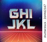 80s retro futuristic font from... | Shutterstock .eps vector #264462167