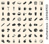 vector set of 64 food icons.... | Shutterstock .eps vector #264464903