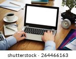 businessman at a desk in an... | Shutterstock . vector #264466163