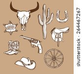 hand drawn wild west western... | Shutterstock .eps vector #264467267