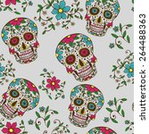 hand drawn day of the dead... | Shutterstock .eps vector #264488363