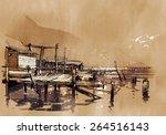 Seascape Painting Showing Pier...