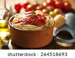 bowl of pasta with tomato sauce | Shutterstock . vector #264518693
