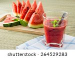 fresh watermelon and glass of... | Shutterstock . vector #264529283