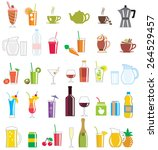 a collection of drink icons.   Shutterstock .eps vector #264529457