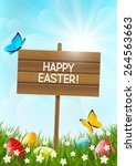 easter card with color eggs | Shutterstock .eps vector #264563663
